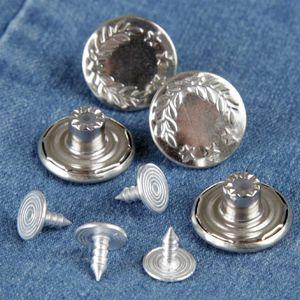 """4er-32er Set Metallknöpfe Jeansknöpfe """"ohne Nähen"""" Ersatz Knopf aus Metall mit Nietenverschluß, kinderleicht zu befestigen"""
