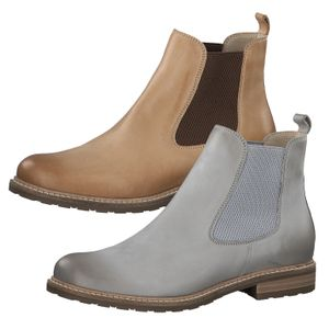 Tamaris Damen Chelsea Boots Leder Stiefeletten 1-25056-26, Größe:39 EU, Farbe:Grau