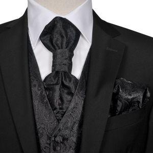 Herren Paisley-Hochzeitswesten-Set Gr??e 48 Schwarz