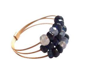 Damen Ring Vergoldet Saphir Blau Ringgröße:60 (19.1)