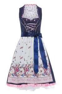 MarJo Mini Dirndl 60cm blau-weiß Tawia 003028 Größe: 38