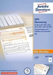 "AVERY Zweckform Vordruck ""Sepa-Standardüberweisung"" DIN A4 200 Stück"