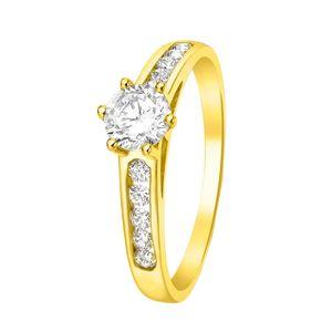 Solitär-Ring aus 375 Gold mit Zirkonia -  53
