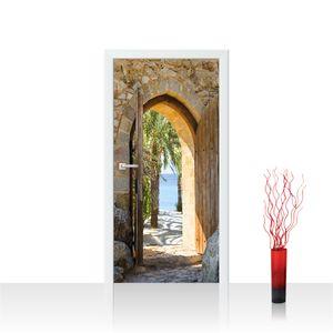 Türtapete - Natur Antik Bogen Tür Palmen Meer Bäume Stein | no. 4265, Größe:91x211 cm, Material:Tür Fototapete - Folie (selbstkl.) EXTRA PROTECT