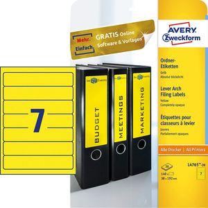 AVERY Zweckform Ordnerrücken Etiketten 38 x 192 mm gelb 140 Etiketten