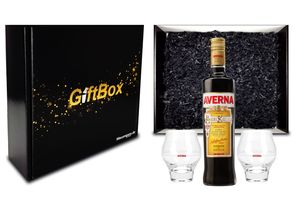 Averna Geschenkset - Averna Amaro Siciliano 0,7L (29% Vol) + 2x Gläser + Giftbox  - [Enthält Sulfite]