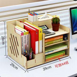 Desktop Organizer Office Aufbewahrung Rack Holz Buch Regal Tissue Halter Stand R