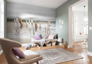 "Komar Fototapete ""White Horses"", weiss/beige, 368 x 254 cm"