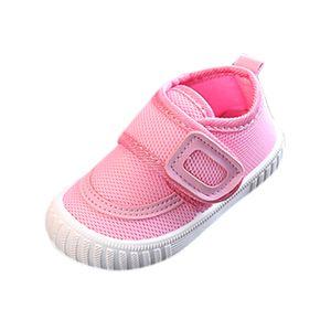 Baby Solid Color Flying Woven Mesh Kleinkindschuhe Slipper Sportschuhe Größe:21,Farbe:Rosa