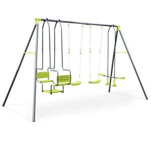 4-teiliges Spielgerüst Meltemi Spielgerät, 6 Sitze mit 2 Schaukeln, 1 Doppelschaukel und 1 Wippe, 223 cm hoch, Spielstation im Freien