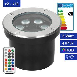 ECD Germany 1er Pack LED Bodeneinbaustrahler RGBW mit Fernbedienung - 5W - 230V - rund - Edelstahl - IP67 - Dimmbar - Aussen Garten Terrasse - Bodeneinbauleuchte Bodenleuchte Bodenstrahler Bodenlampe