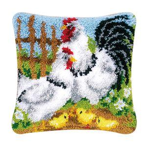 1 Set Kissen Knüpfer Kits Materialpaket für Kinder Erwachsene Farbe Hähnchen