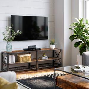 VASAGLE TV-Schrank bis zu 70 Zoll Fernsehtisch 160 x 39,2 x 50 cm, Lowboard für Fernseher , Fernsehschrank mit Ablagen, Stahlgestell, TV-Regal, vintagebraun-schwarz, LTV095B01