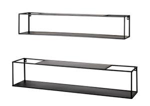 Haku 2er-Set Wandregal, schwarz - Maße: 85/95 cm x 17/20 cm x 17/20 cm; 22569