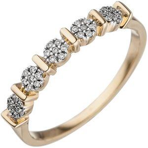JOBO Damen Ring 50mm 585 Gold Gelbgold 35 Diamanten Brillanten Goldring Diamantring