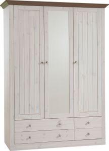 Steens - Monaco Kleiderschrank 2+1 Türen, 2+2 Schubladen - Material: Kiefer - Verarbeitung: White-Wash/Stone