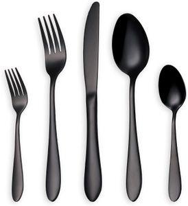 Glänzend Schwarzes Besteck/Besteck Set 30 Stück Edelstahl Messer Gabel Löffel Set für 6 Personen (schwarz 6 Sets)