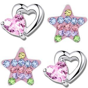 2x Ohrstecker für Kinder Echt Silber 925 Ohrringe  Mädchen Herz Sterne K753+K710