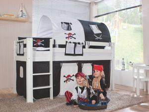 Relita - Halbhohes Spielbett Alex Buche massiv weiß lackiert mit Stoffset Pirat