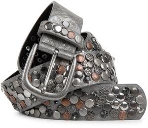 styleBREAKER Nietengürtel im Vintage Design, verschiedenen Nieten und Strass, kürzbar, Damen 03010051, Farbe:Dunkelblau, Größe:85cm