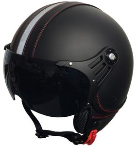 Jethelm P01 Retro Helm Motorradhelm Gr. L Rollerhelm matt schwarz Visier klar + schwarz getönt