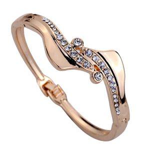 Hot Women Gold Plated Antisymmetric Kristall Manschette Armband Armreif Geschenk