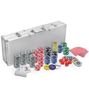 LARS360 Pokerkoffer Pokerset mit 500 Laser Pokerchips Pokerkarten Zubehör inkl. 2X Pokerdecks, Alu Pokerkoffer, 5X Würfel, 3X Dealer Button, Poker, Pokerchips, Koffer, Jetons