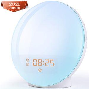 LED Wake Up Lichtwecker, mit 20 Helligkeitseinstellungen & 7 natürlichen Sounds & FM Radio & Snooze Funktion Nachtlicht