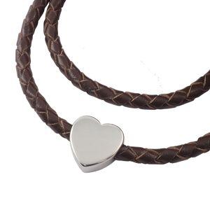 Lederkette geflochten Leder-Band Halskette mit Anhänger Damen Kette 3 mm Braun, Länge:20 Zentimeter