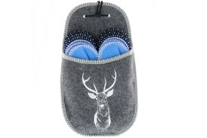Vista Gäste Hausschuh Set Pantoffeln Gr. 36 - 46 mit Aufbewahrungstasche mehrfarbig/grau/blau