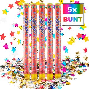 Konfettikanone - XXL Party Popper - Buntes  Lametta Metallic 100cm XXL - 5 Stk