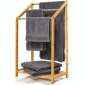 bambuswald© Handtuchhalter mit 3 Streben aus Metall | freistehende Handtuchablage ca. 85x51x31cm Bambus | Handtuchständer Badaccessoire Handtuchstangen Handtuchtrockner Handtücher Badezimmer