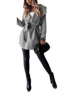 Kurzer Trenchcoat mit Schnürung für Frauen Mantel,Farbe: grau,Größe:S