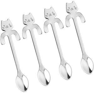 Katzenlöffel, ein Satz von 4 Edelstahl Kaffeelöffel Zuckerlöffel Eis Wüstenlöffel hängende Tasse Suppe Silber