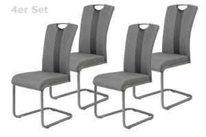4er Set Schwingstuhl Amber 2 - Webstoff Grau-Kunstleder Schwarz - Bügelgriff und Metallgestell Grau