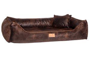 tierlando® Ultraweiches orthopädisches Hundebett ALBERTO Vintage Velours XL+ 120cm - Braun