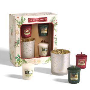 Yankee Candle Geschenkset 3 Votivkerzen & 1 Votivkerzenhalter Votiv Kerzen Duft