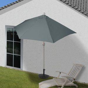 Sonnenschirm halbrund Parla, Halbschirm Balkonschirm, UV 50+ Polyester/Alu 3kg  300cm anthrazit mit Ständer
