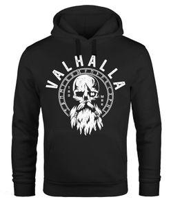 Hoodie Herren Aufdruck Valhalla Totenkopf Odin Runen Wikinger Print Kapuzen-Pullover Fashion Streetstyle Neverless® schwarz XXL
