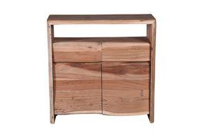 SIT Möbel Kommode | 2 Türen, 2 Schubladen, 1 offenes Fach | Akazie mit Baumkante natur | B 90x T 40 x H 90cm | 13010-01 | Serie ALBERA