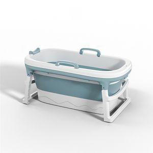 1.38m verdickte Bad für Erwachsene Kinder Faltbare Sauna Bad ohne Deckel, Blau