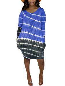 Langärmliges, gestreiftes Hemdkleid mit Farbverlauf und Farbverlauf für Damen Hosenträgerrock,Farbe: Navy blau,Größe:M