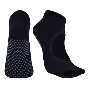 Womens Sport Gym Yoga Socken Rutschfeste Half Toe Sticky Grip Socken Schwarz 23x13cm Yoga-Socken Solide