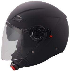 Jethelm 702B Motorradhelm Rollerhelm mit Sonnenvisier Helm Größe M matt schwarz