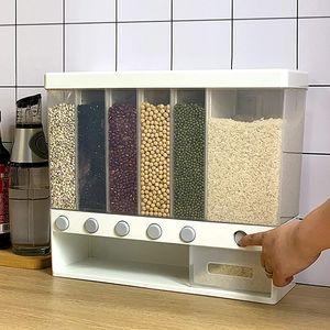 6 Slot Müslispender  Lebensmittel Aufbewahrungsbox Kunststoffkanister Wandbehälter Vorratsbehälter 10KG für Getreidespender mit großer Kapazität Trockenfutter-