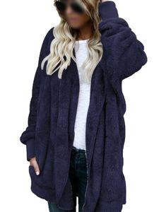 Plus Size Frauen Kapuze Cardigan Fuzzy Fleece Winter Open Front Kunstpelzmantel,Farbe:Blau, Größe:4XL
