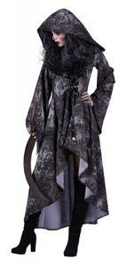 T2784-S schwarz-grau Walking Dead Damen Halloween Kostüm Kleid mit Kapuze Gr.S