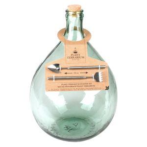 Esschert Design Terrarium Flasche 15 Liter Set Glas Pflanzen Gewächs Haus Deko