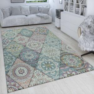 Retro Teppich Bunt Wohnzimmer Rauten Muster Boho Stil Blumen Design 3-D Kurzflor, Grösse:80x150 cm