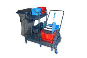 Hypafol Putzwagen Reinigungswagen   2x5 l + 2x18 l Eimer   Doppelfahrwagen mit Moppresse, Utensilbehälter & Abfall-Eimer   für Gebäudereinigung, Hotelservice, Gastronomie, Großküche, Büros oder Arzt